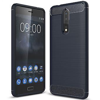 Nokia 8 TPU caso carbono fibra óptica escovado azul caixa protetora