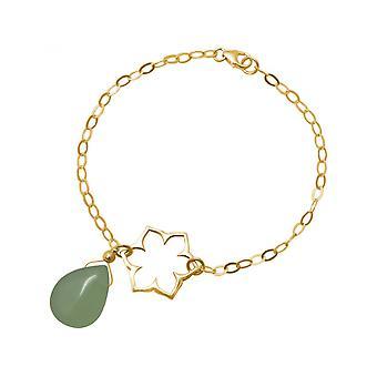 Vrouwen - armband - 925 zilver - gilt - lotusbloem - mandala - Chalcedoon - drip - groen - YOGA