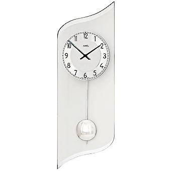 AMS 7436 wall clock quartz with pendulum silver pendulum clock with aluminium and glass