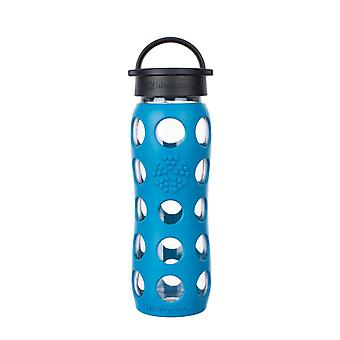 Lifefactory 22 oz Glass Water Bottle with Classic Cap and Silicone Sleeve - Teal Lake