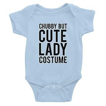 Chubby But Cute Lady Costume Baby Bodysuit Gift Sky Blue