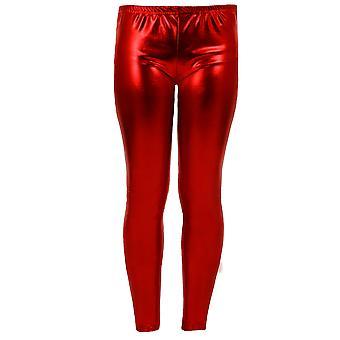 Mädchen Kinder Metallic Shiny Kinder Wet Look Footless Party Disco Pants Leggings