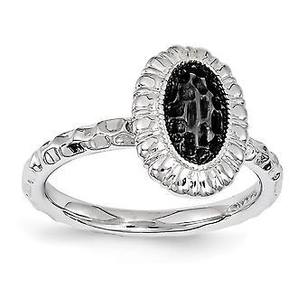 2,5 mm argent Sterling poli rhodié ruthénium anneau ovale plaquée ruthénium d'Expressions empilable - anneau de placage