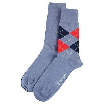 Burlington quotidienne Mix 2 Pack chaussettes - bleu/marine/rouge clair