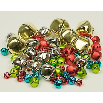 60 Assorted Christmas Coloured Jingle Bells for Crafts