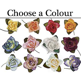 12 45mm Paper Rose Flowers for Floristry Crafts