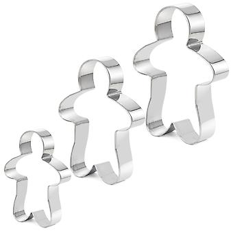 TRIXES 3 Piece Ginger Bread Man Cookie, Biscuit, Pastry Cutters Stainless Steel