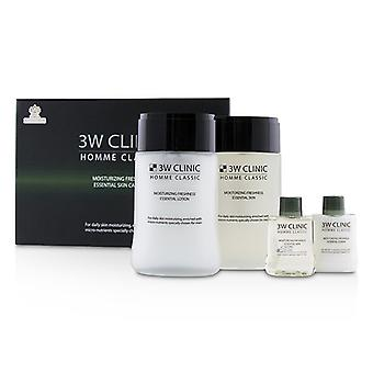 3w Clinic Homme Classic - Moisturizing Freshness Essential Skin Care Set: Essential Skin 150ml+30ml + Essential Lotion 150ml+30ml - 4pcs