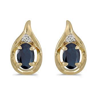 14k geel gouden ovale saffier en Diamond Earrings