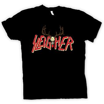 Womens T Shirt Sleigher Rock Metal Inspired Christmas
