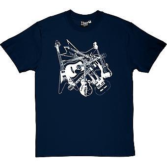 Verstreuten Gitarren Herren T-Shirt