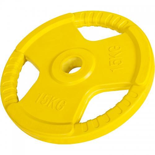 Poids disque 51mm en fonte rev�tement caoutchouc de 15kg avec poign�e