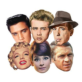 Hollywood Party Card Face Masks Classic Set of 6 (Audrey Hepburn, Marilyn Monroe, Elvis, Humphrey Bogart, James Dean and Steve McQueen)