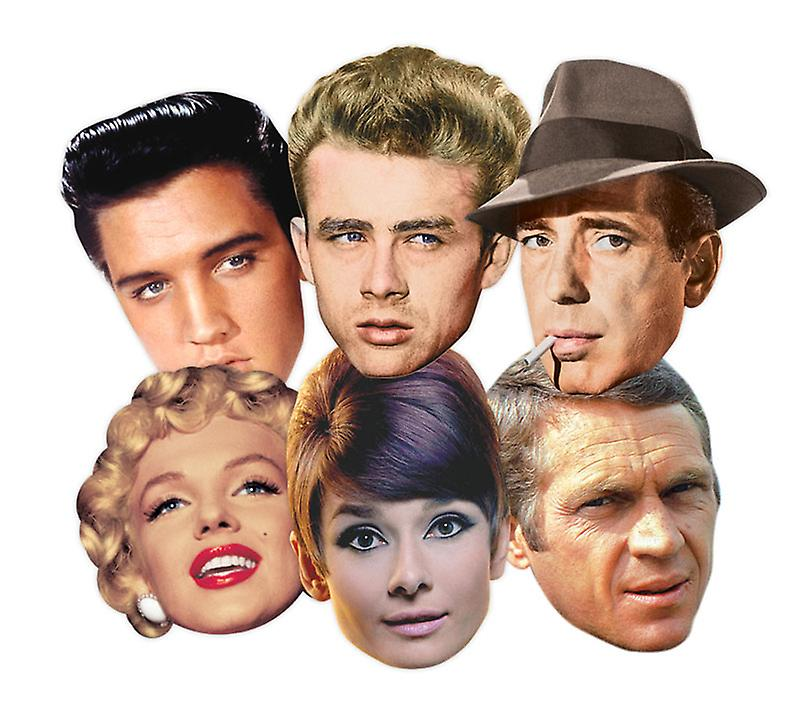 Hollywood Party Card Face Masks Classic Set of 6 (Audrey Hepburn, Marilyn Monroe, Elvis, Humphrey Bogart, James Dean and Steve McQueen)