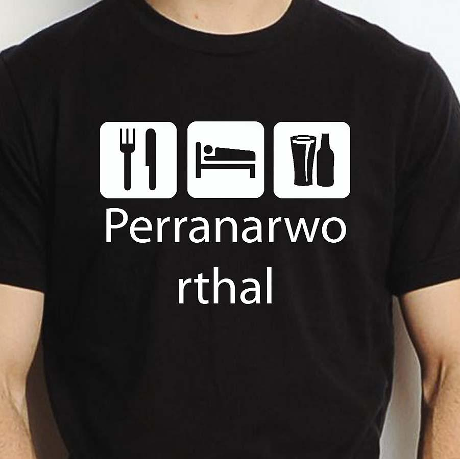 Eat Sleep Drink Perranarworthal Black Hand Printed T shirt Perranarworthal Town