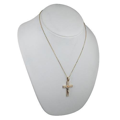 9ct Gold 40x26mm solid block Crucifix Cross with bail with a belcher chain