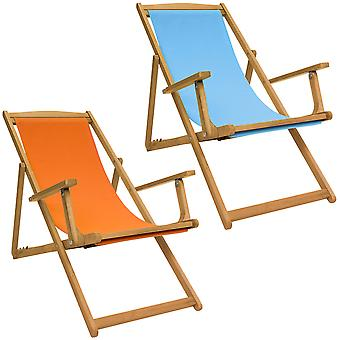 Charles Bentley FSC Eucalyptus Wooden Foldable Deck Chair with 3 Reclining Positions Plaque in Orange / Teal / Cream