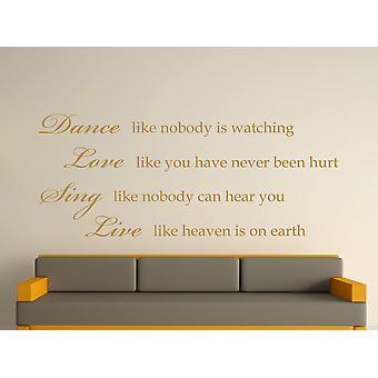 Dance Like Nobody Is Watching Wall Art Sticker - Gold