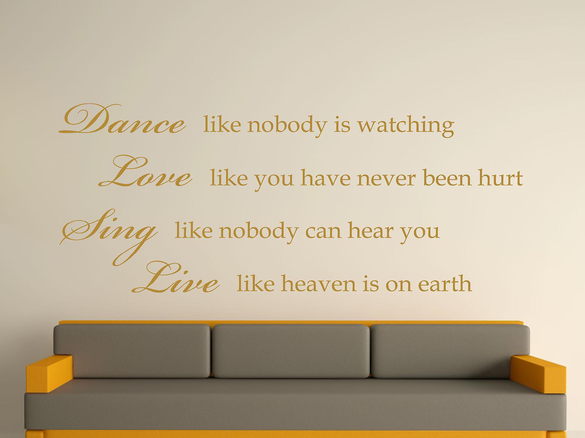 Dance Like Nobody Is Watching Wall Art Sticker - Gold