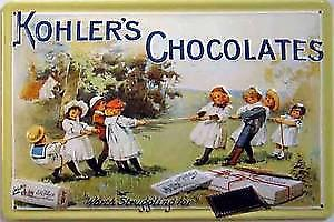 Kohlers Chocolates emsbossed steel sign
