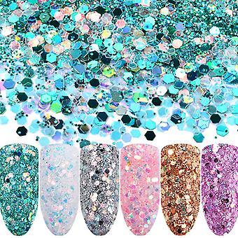 6pcs nagle glitter blanding regnbue
