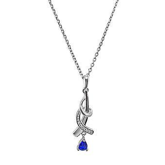 Ah! Bijoux en argent Sterling Twist pendentif collier avec saphir