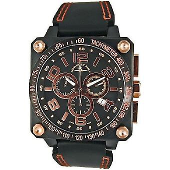 Zeno-watch reloj de cuarzo 3 Cronógrafo taquímetro negro 90240Q-BRG-d6