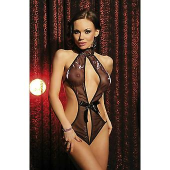 Passion Lingerie Lucy Sheer Black Body with Purple Shimmer