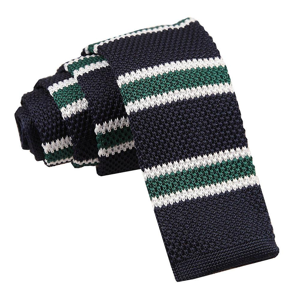 Knitted Navy Green with White Thin Stripe Tie