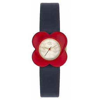 Orla Kiely Womans Red Poppy Case Navy Leather Strap OK2062 Watch