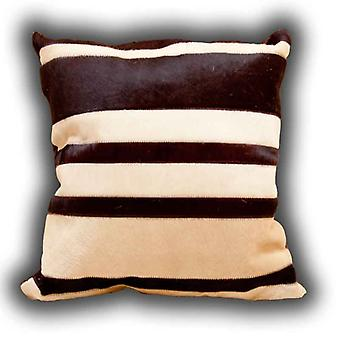 Rugs - Leather Stripes Cushion Beige & Brown