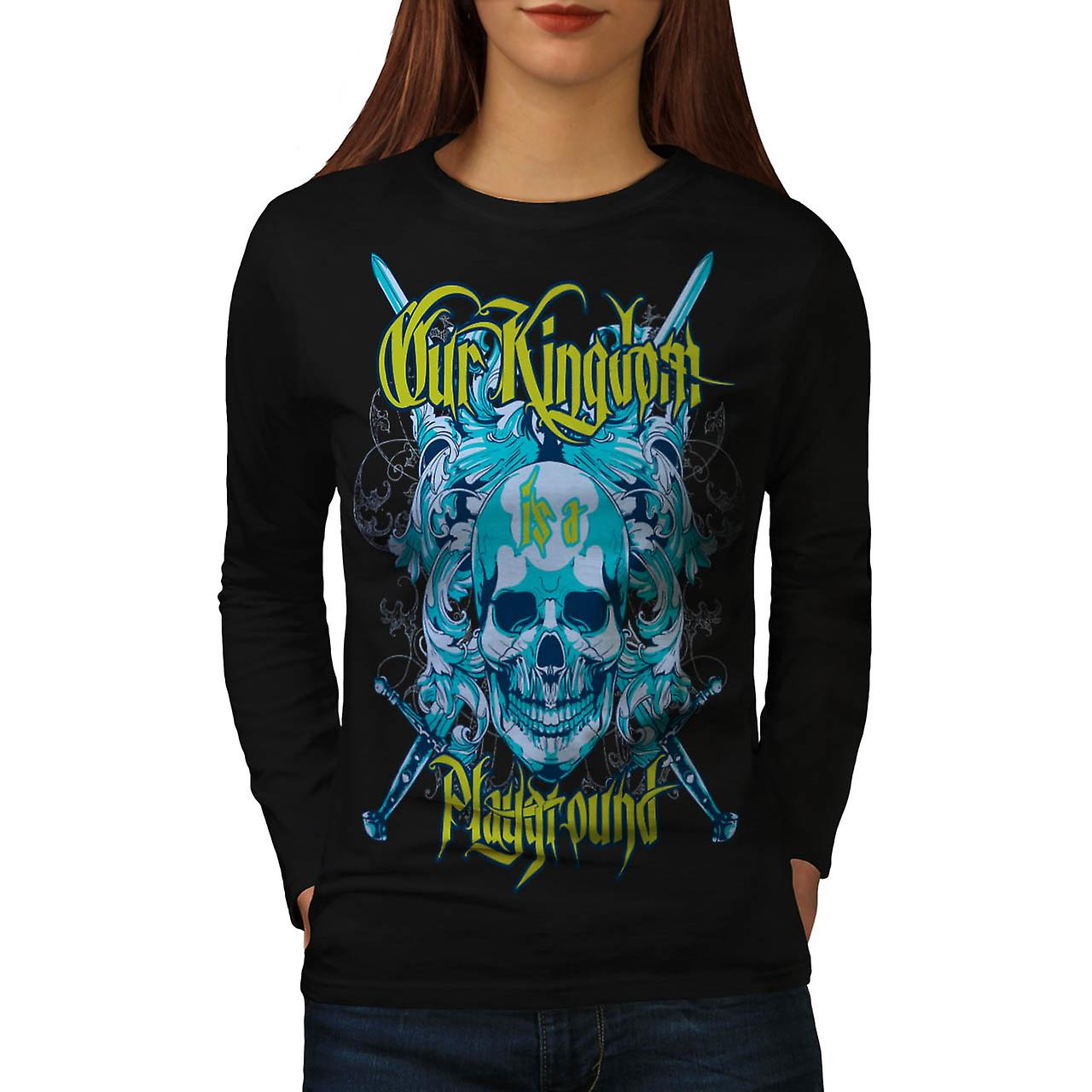 Kingdom Play Ground Monster Game Women Black Long Sleeve T-shirt | Wellcoda