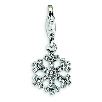 Sterling Silver Cubic Zirconia Snowflake With Lobster Clasp Charm - Measures 25x11mm