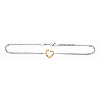 Sterling Silver 14k Gold-Flashed Gold Rhodium Rolo Anklet Station Heart Pear Shape Clasp - 10 Inch