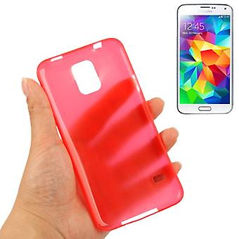 Protective cover case ultra thin 0.3 mm for mobile Samsung Galaxy S5 / S5 neo red transparent