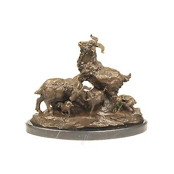 bronce group figur figurine goat family