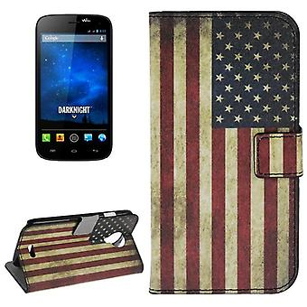 Cover cell phone case (flip cross) for mobile WIKO Furthermore Knight retro flag United States