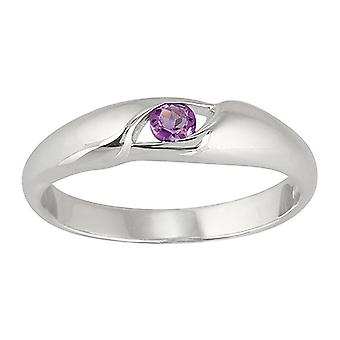Sterling Silver Oval Cut Amethyst Single Stone Ring