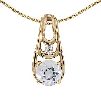 14k Yellow Gold Round White Topaz And Diamond Pendant with 18