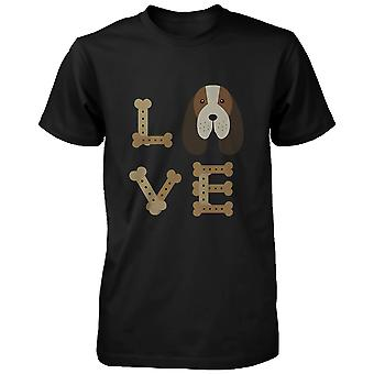 Basset Hound LOVE Men's T-shirt Cute Tee for Dog Owner Puppy Printed Shirt