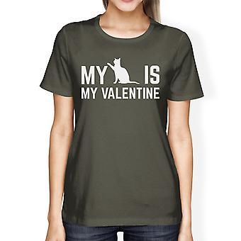 My Cat My Is Valentine Women's Dark Grey T-shirt Crew-Neck T-Shirt