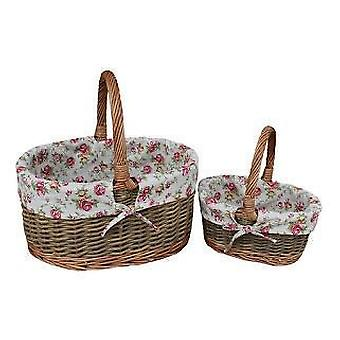Garden Rose Lined Childs Set of Two Country Oval Wicker Shopping Baskets