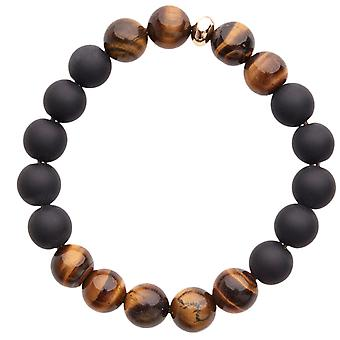Iced Out Unisex Wooden CZ Bead Armband - Holz 10mm schwarz