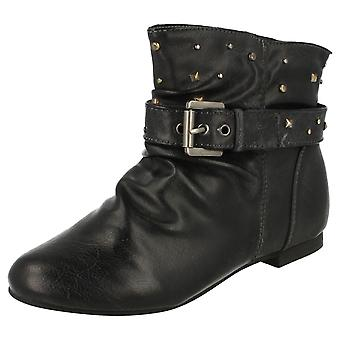 Girls Flat Buckle Strap Ankle Boot / Studs