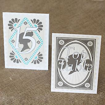 Vintage Stamp Wedding Table Numbers Top Table 1 - 15 Tent Fold - Vintage Wedding