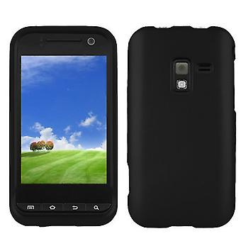 Rubberized Snap-On Hard Skin Case Cover for Samsung Conquer 4G SPH-D600 - Black