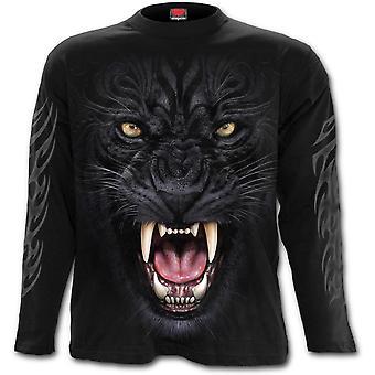 Spiral-Tribal Panther-herr långärmad t-shirt-svart