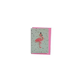 Attitude Clothing Embroidered Flamingo Greetings Card