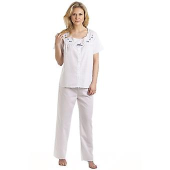 Camille White And Blue Floral Embroidered And Polka Dot Pyjama Set