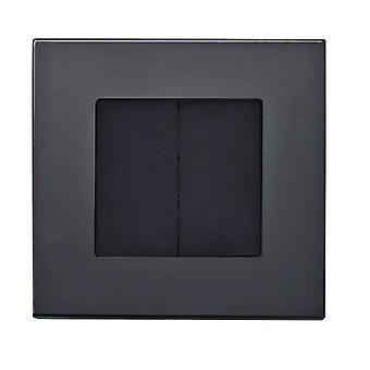 I LumoS Luxury Black Full Glass Screwless Blanking Plate Wall Single Socket